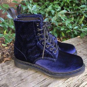 Dr. Martens 1460 Brocade Velvet Blue Combat Boots